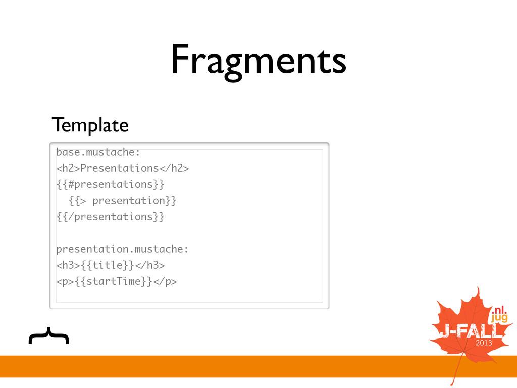 Fragments base.mustache: <h2>Presentations</h2>...