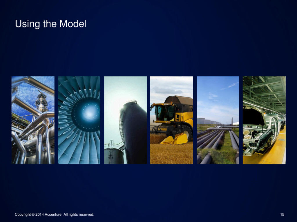 15 Using the Model Copyright © 2014 Accenture A...