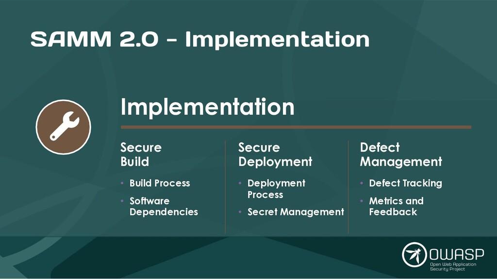 SAMM 2.0 - Implementation Implementation Secure...