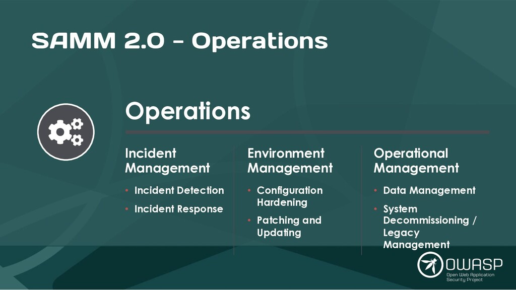 SAMM 2.0 - Operations Operations Incident Manag...