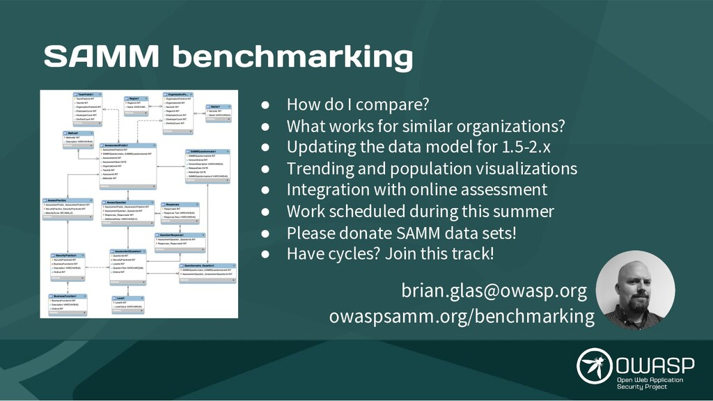 SAMM benchmarking ● How do I compare? ● What wo...