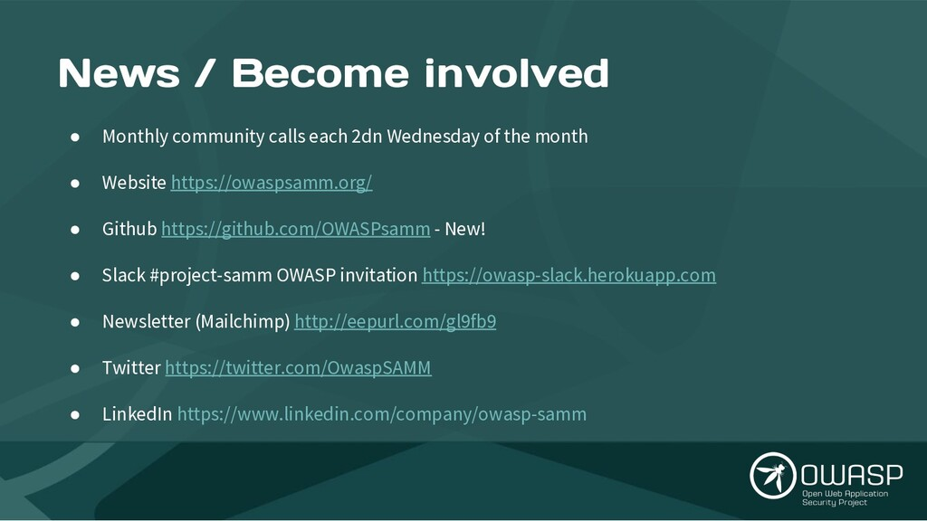 News / Become involved ● Monthly community call...