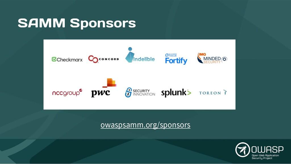 SAMM Sponsors owaspsamm.org/sponsors