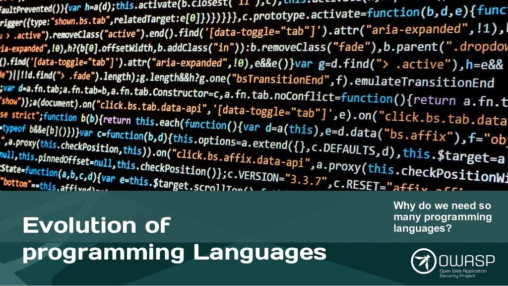 Evolution of programming Languages Why do we ne...