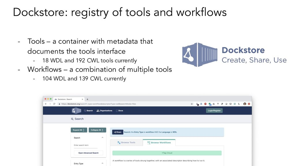 Dockstore: registry of tools and workflows - Too...