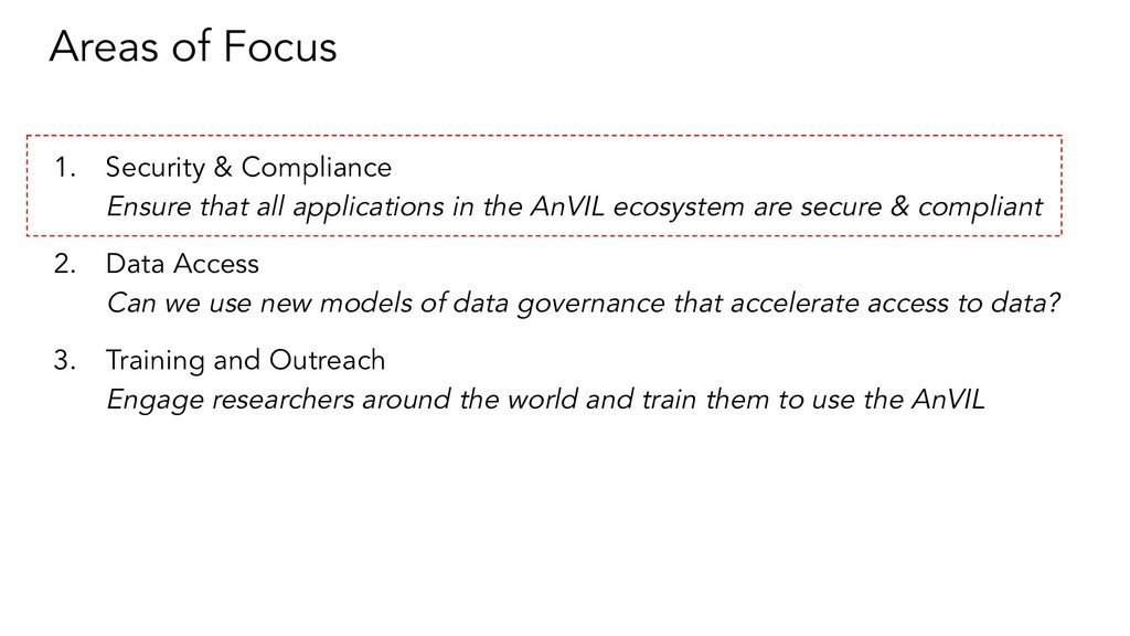 Areas of Focus 1. Security & Compliance Ensure ...
