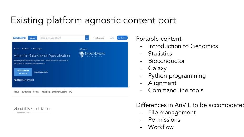 Existing platform agnostic content port Portabl...
