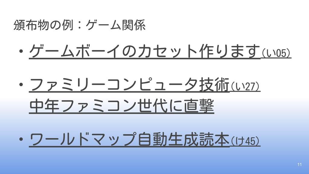 頒布物の例:ゲーム関係 ・ゲームボーイのカセット作ります(い05) ・ファミリーコンピュータ技...