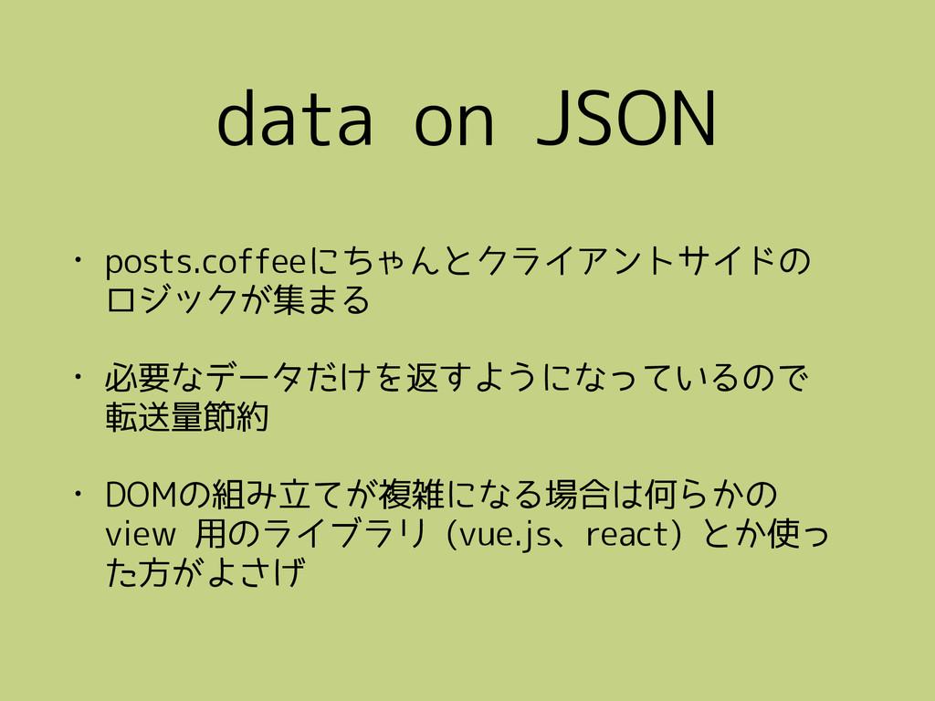 data on JSON • posts.coffeeにちゃんとクライアントサイドの ロジッ...