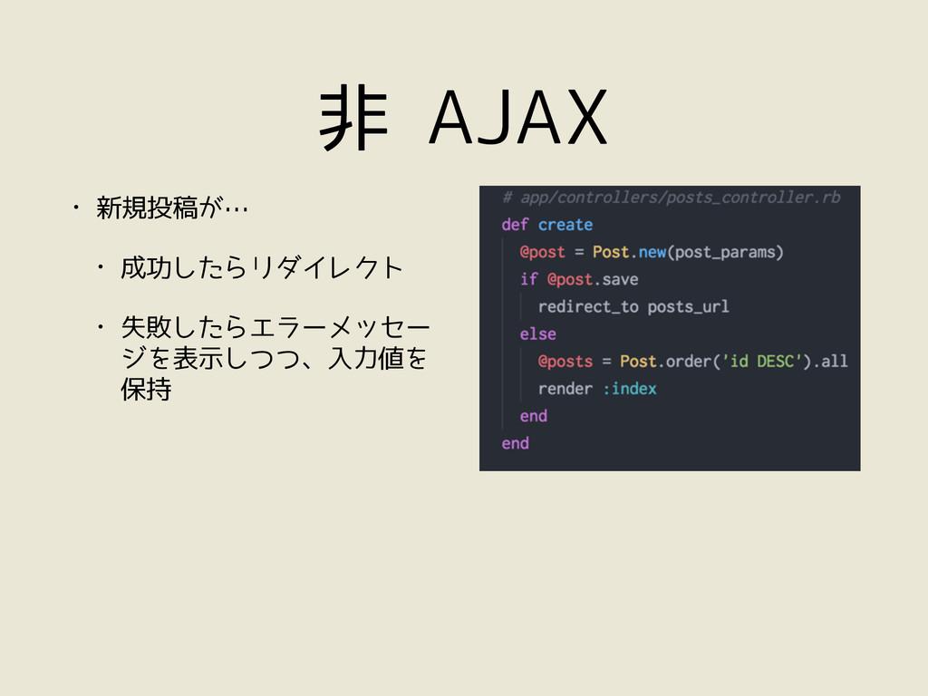 非 AJAX • 新規投稿が… • 成功したらリダイレクト • 失敗したらエラーメッセー ジを...