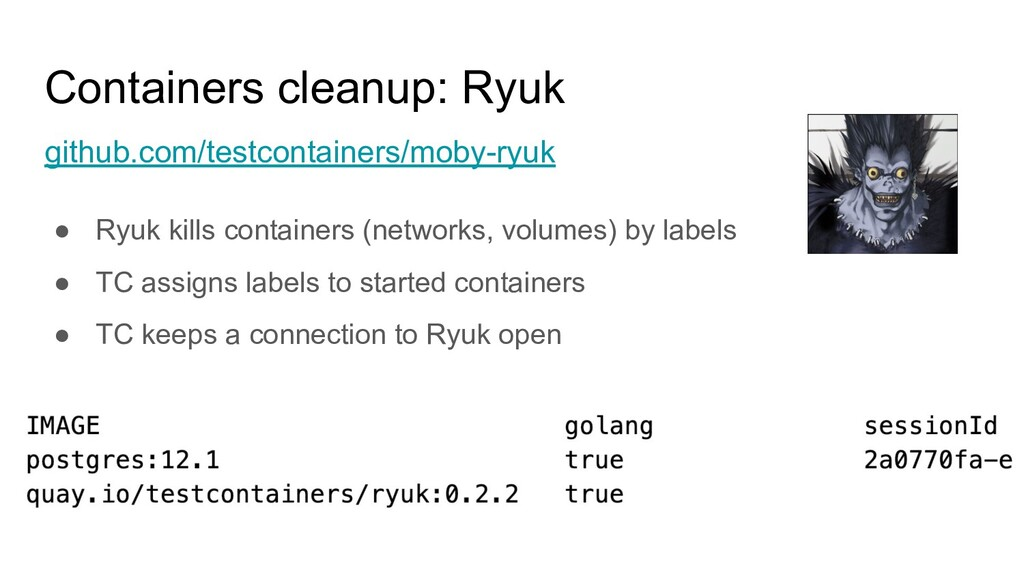 Containers cleanup: Ryuk github.com/testcontain...