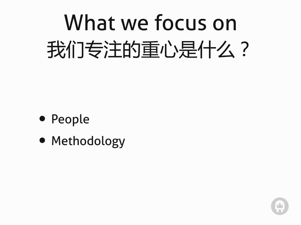 What we focus on 我们专注的重心是什么? • People • Methodo...