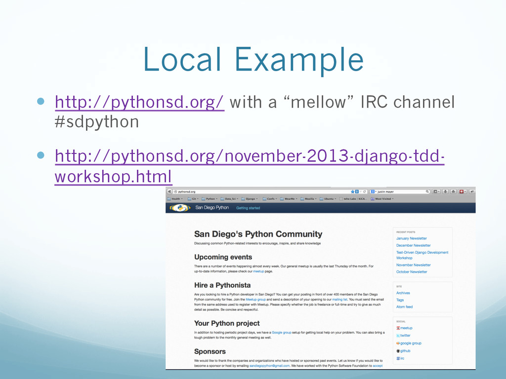 "Local Example —  http://pythonsd.org/ with a ""..."