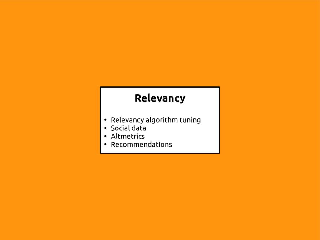 13 Relevancy ● Relevancy algorithm tuning ● Soc...