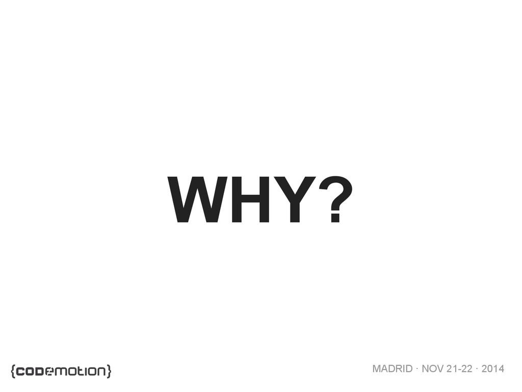 MADRID · NOV 21-22 · 2014 WHY?