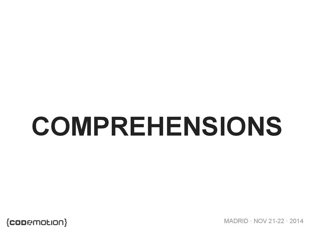 MADRID · NOV 21-22 · 2014 COMPREHENSIONS
