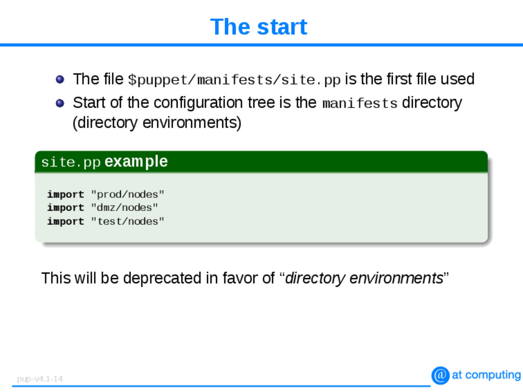 The start The file $puppet/manifests/site.pp is...