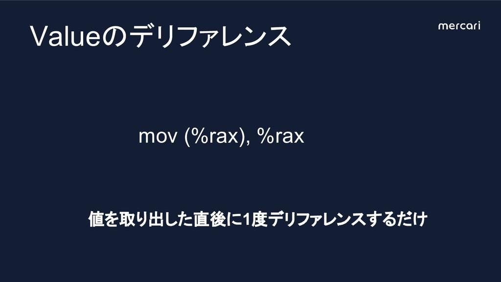 mov (%rax), %rax Valueのデリファレンス 値を取り出した直後に1度デリファ...
