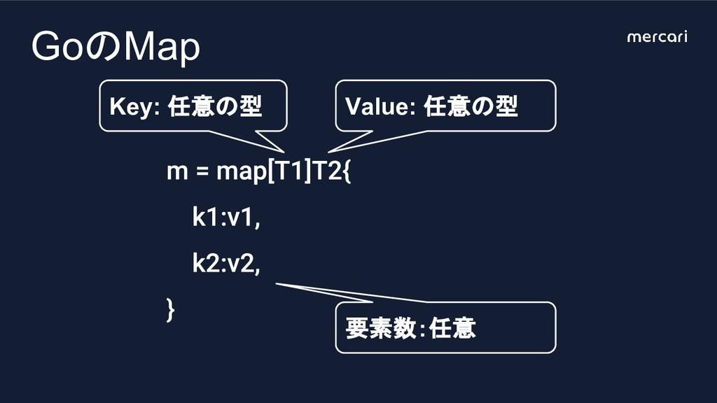 GoのMap Key: 任意の型 Value: 任意の型 要素数:任意