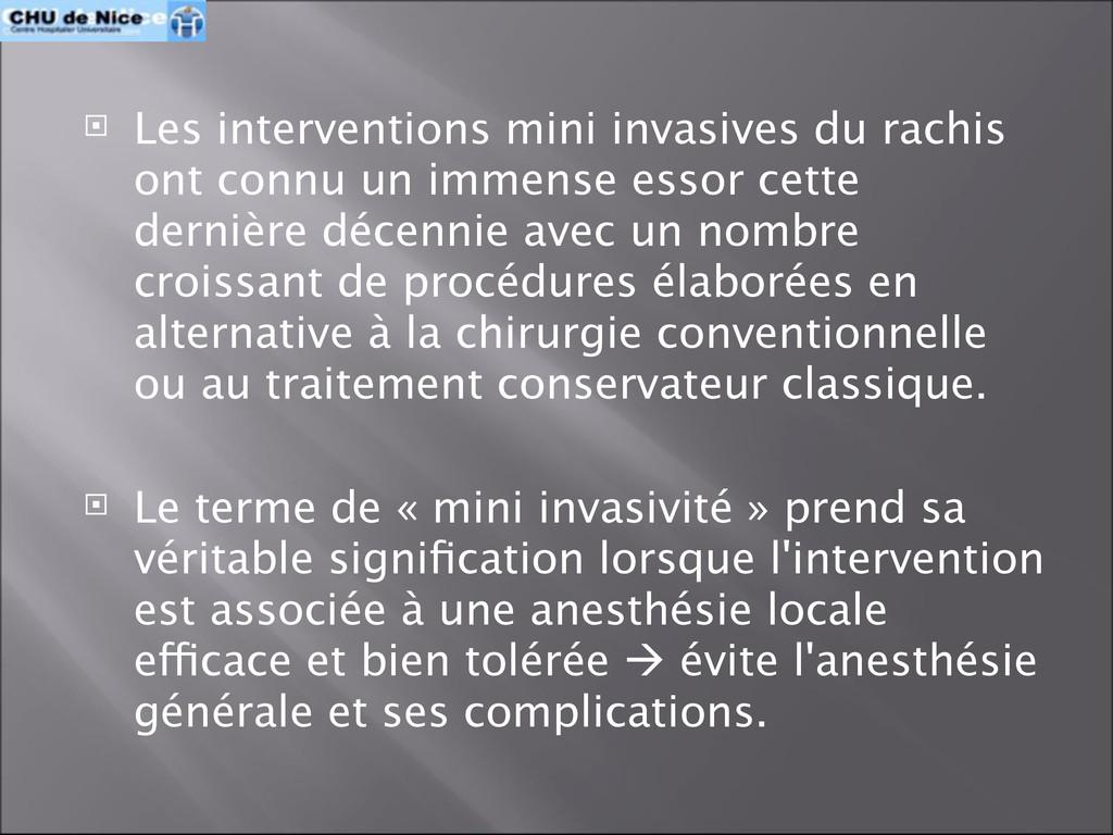  Les interventions mini invasives du rachis on...