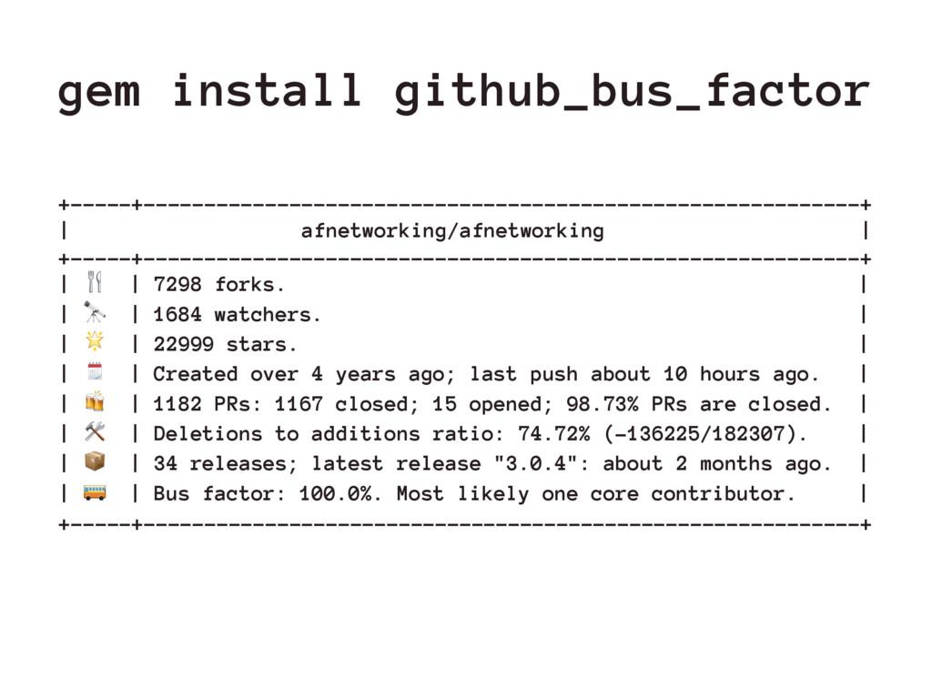 gem install github_bus_factor +-----+----------...