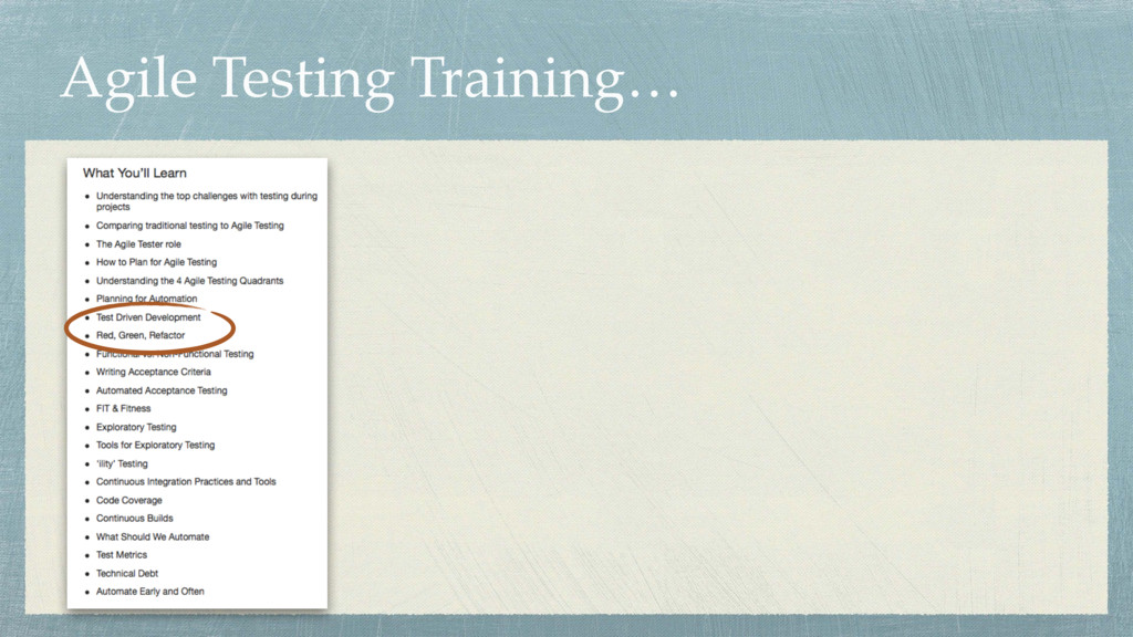 Agile Testing Training…
