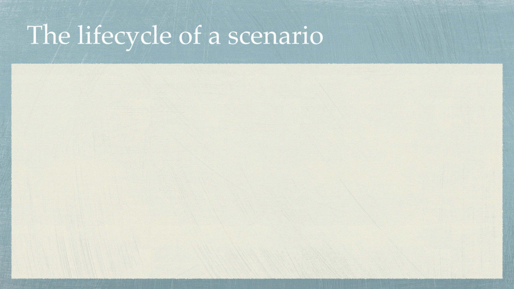 The lifecycle of a scenario