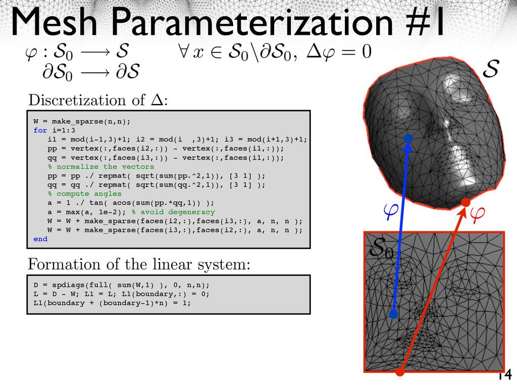 Mesh Parameterization #1 14 W = make_sparse(n,n...