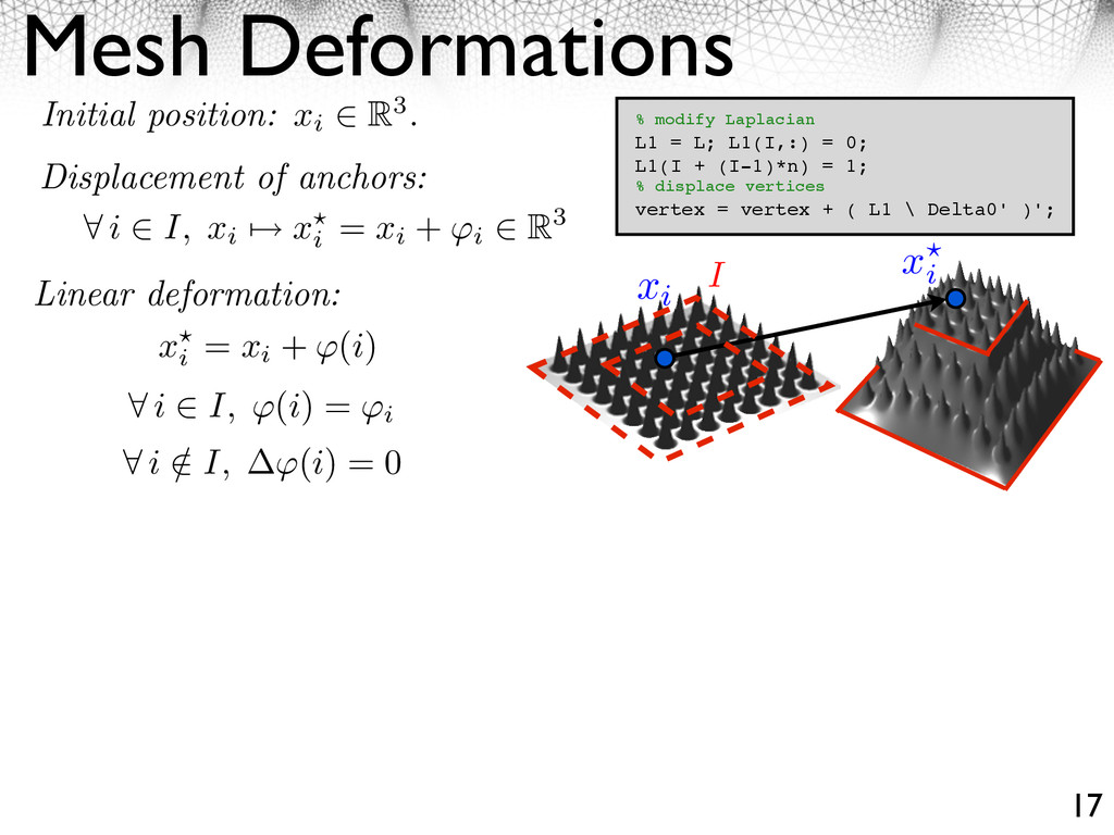 Mesh Deformations 17 Initial position: xi R3. D...