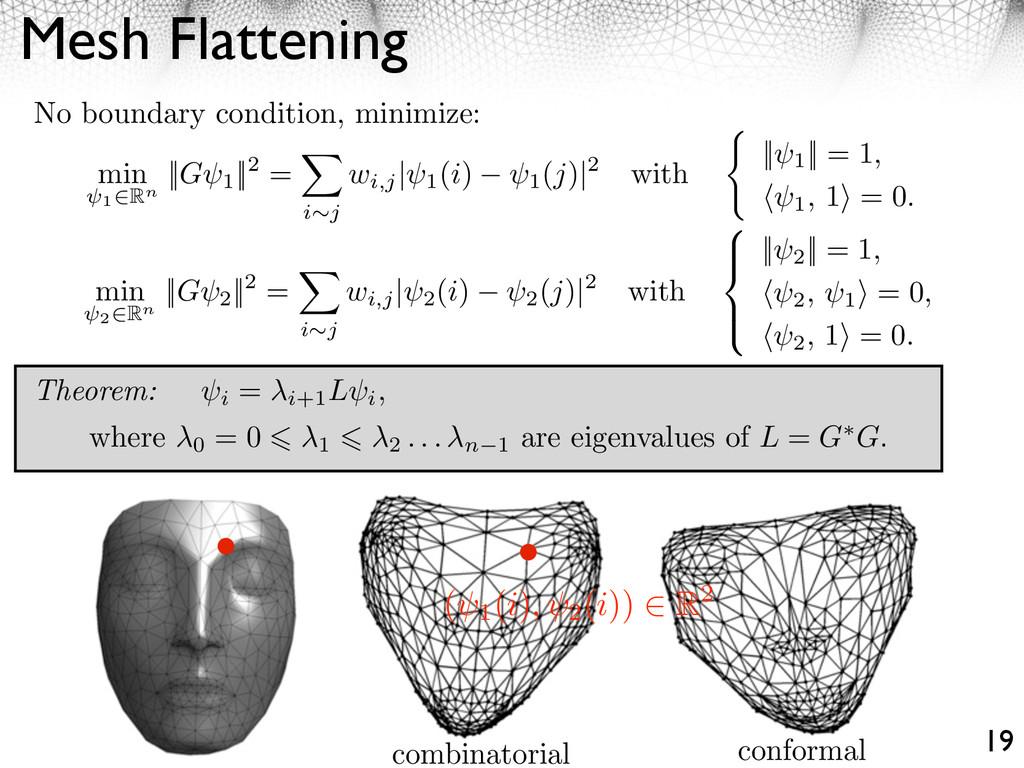 Mesh Flattening 19 min 1⇥Rn ||G 1 ||2 = ⇥ i j w...