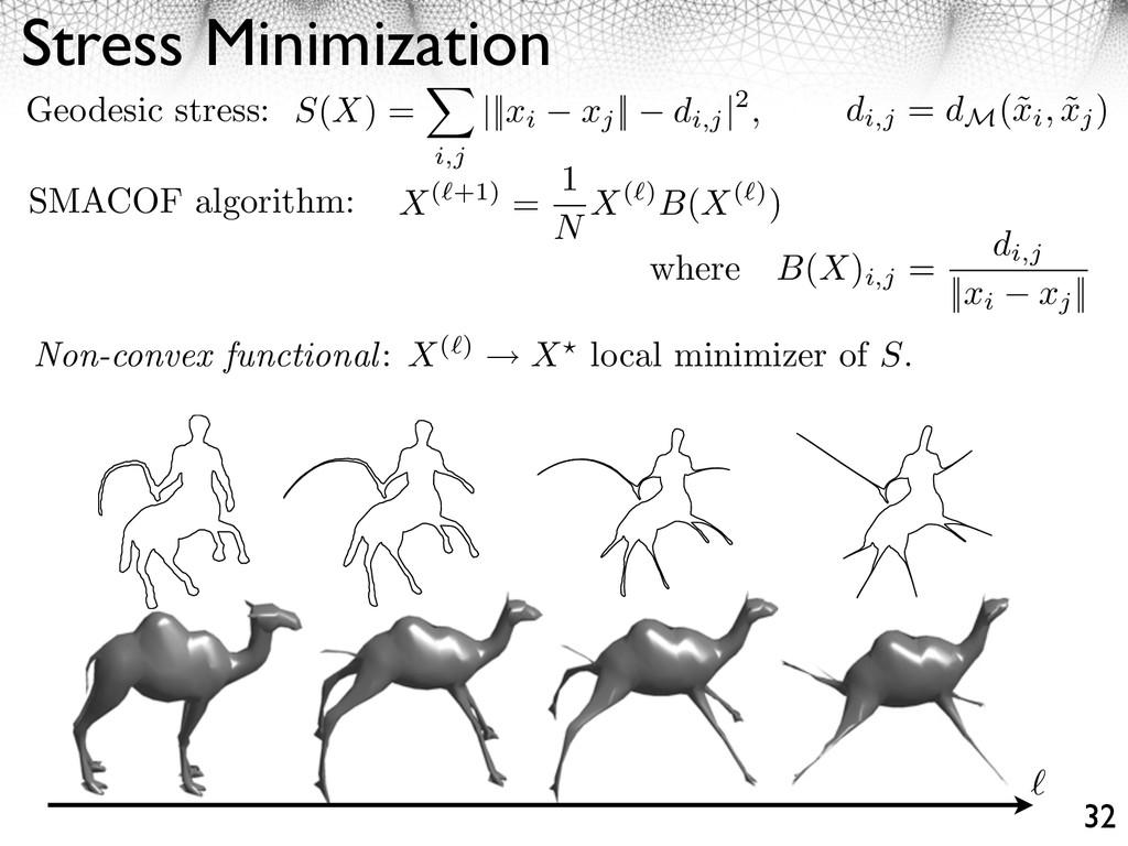 Stress Minimization 32 Geodesic stress: di,j = ...