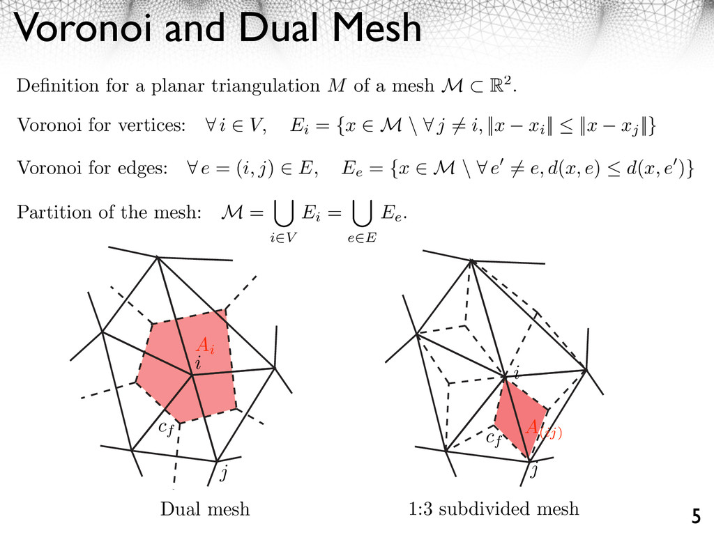 Voronoi and Dual Mesh 5 Definition for a planar ...