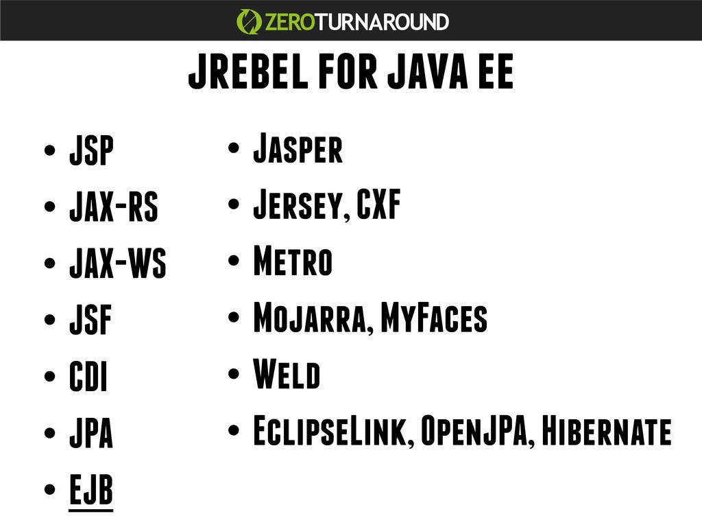 jrebel for java ee •JSP •JAX-RS •JAX-WS •JS...