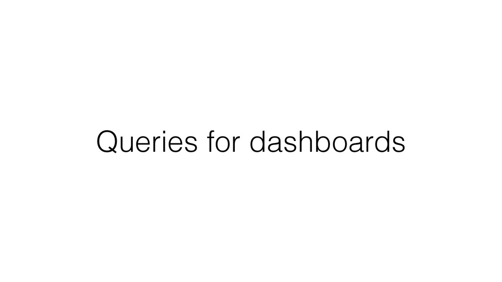 Queries for dashboards