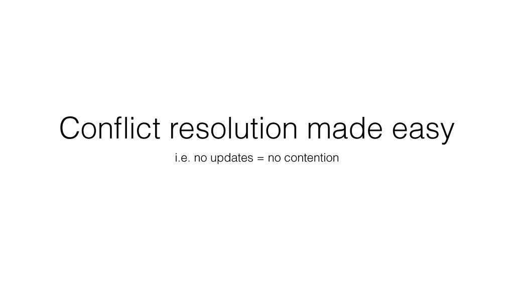 Conflict resolution made easy i.e. no updates = ...