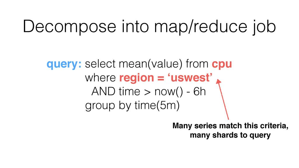 Decompose into map/reduce job query: select mea...