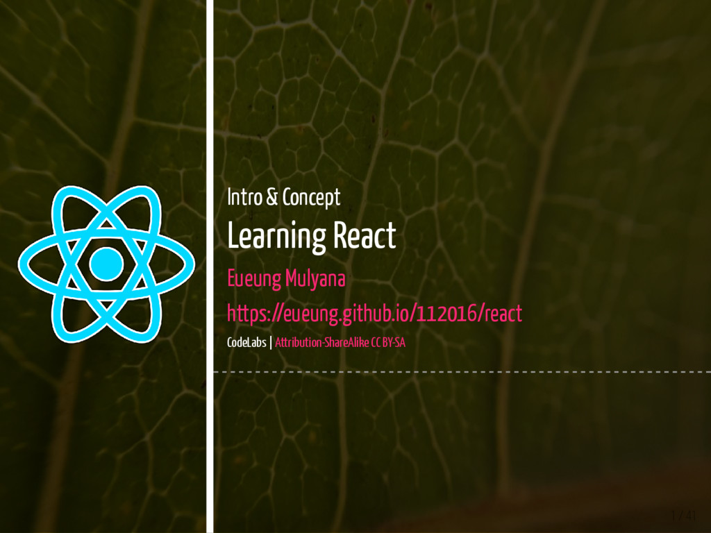 1 / 41 Intro & Concept Learning React Eueung Mu...