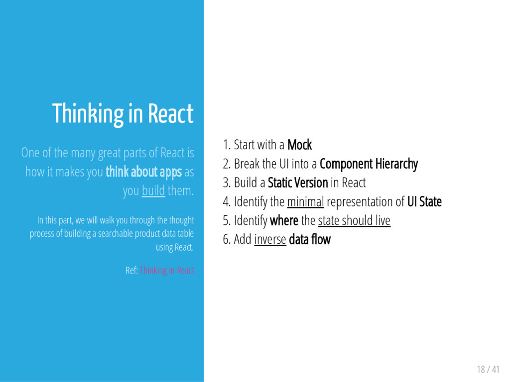 Thinking in React One of the many great parts o...