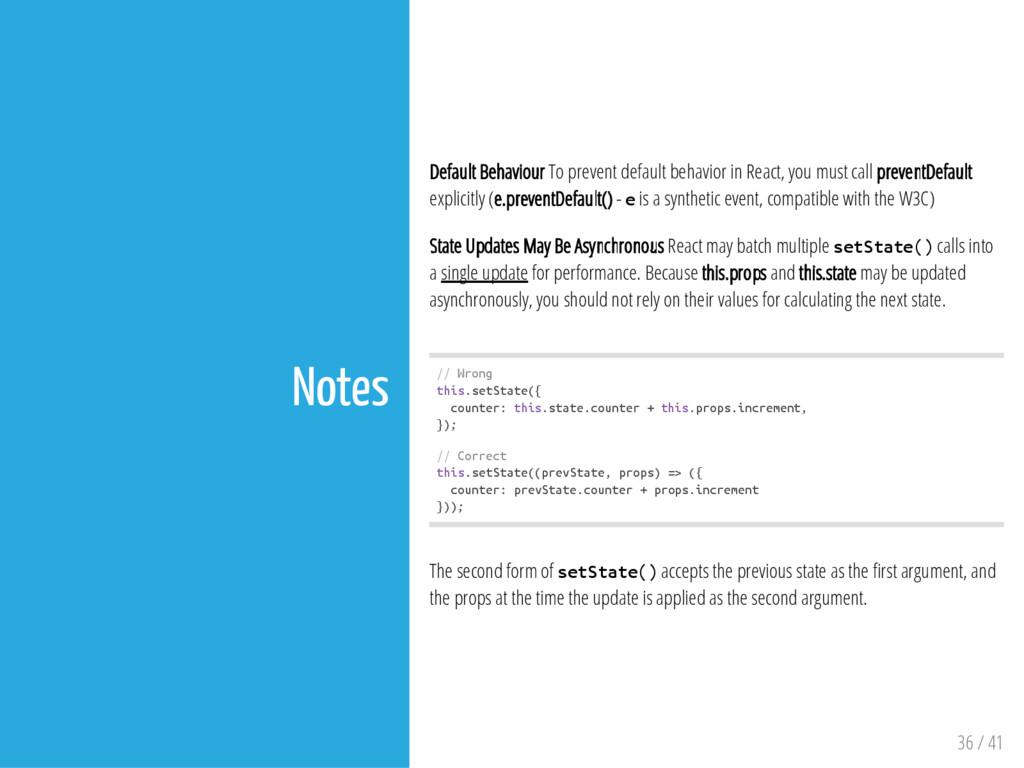 Notes Default Behaviour To prevent default beha...