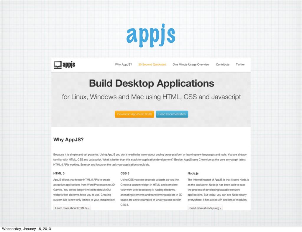 appjs Wednesday, January 16, 2013