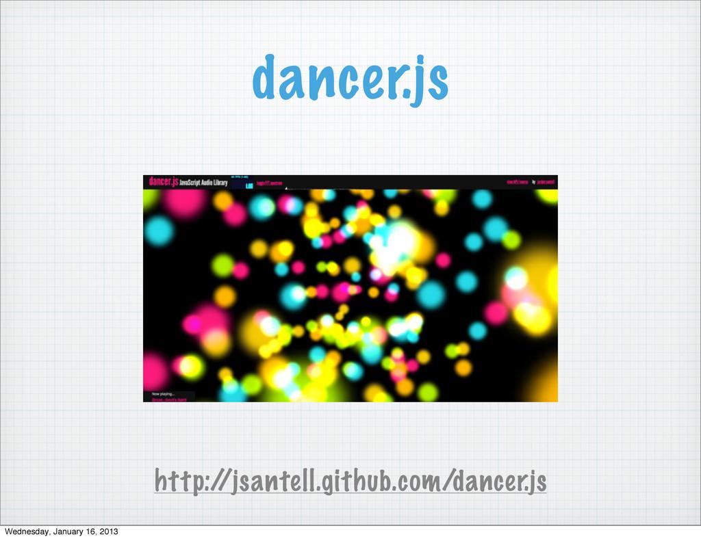 dancer.js http:/ /jsantell.github.com/dancer.js...