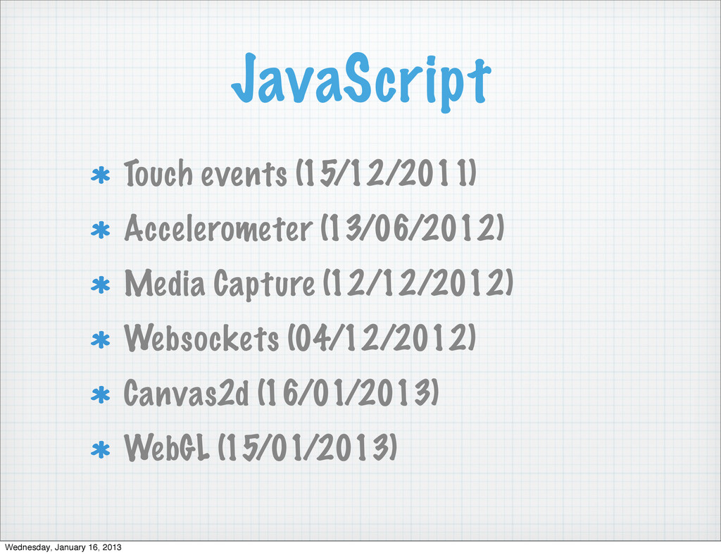 JavaScript Touch events (15/12/2011) Accelerome...