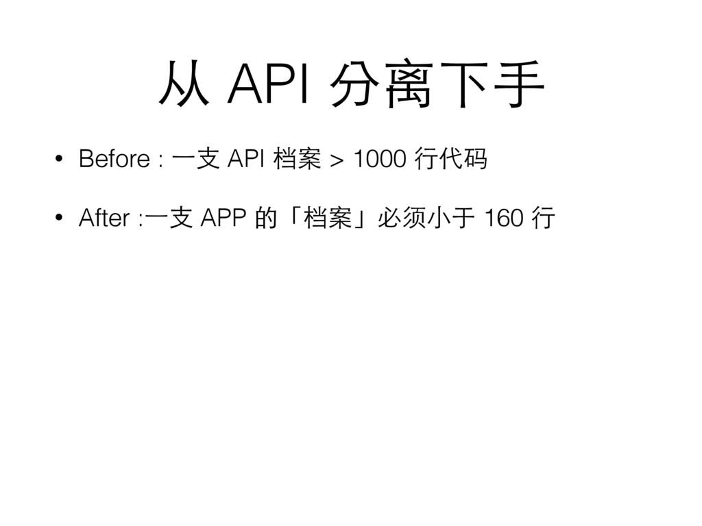 从 API 分离下⼿手 • Before : ⼀一⽀支 API 档案 > 1000 ⾏行代码 ...