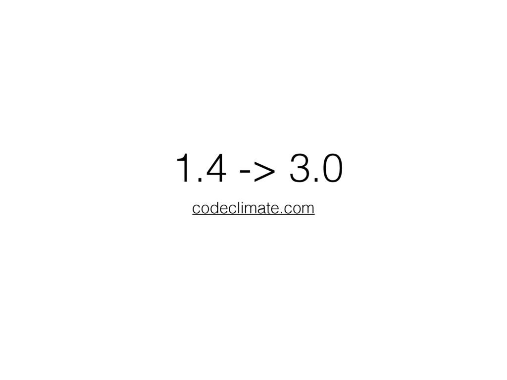 1.4 -> 3.0 codeclimate.com