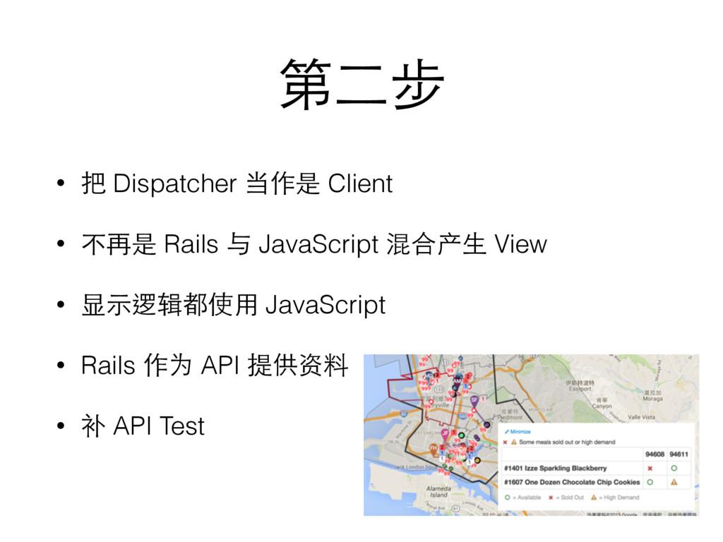 第⼆二步 • 把 Dispatcher 当作是 Client • 不再是 Rails 与 Ja...