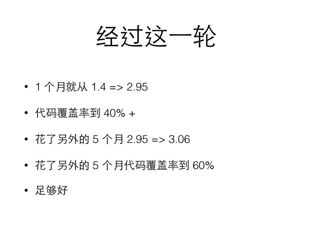 经过这⼀一轮 • 1 个⽉月就从 1.4 => 2.95 • 代码覆盖率到 40% + • 花...