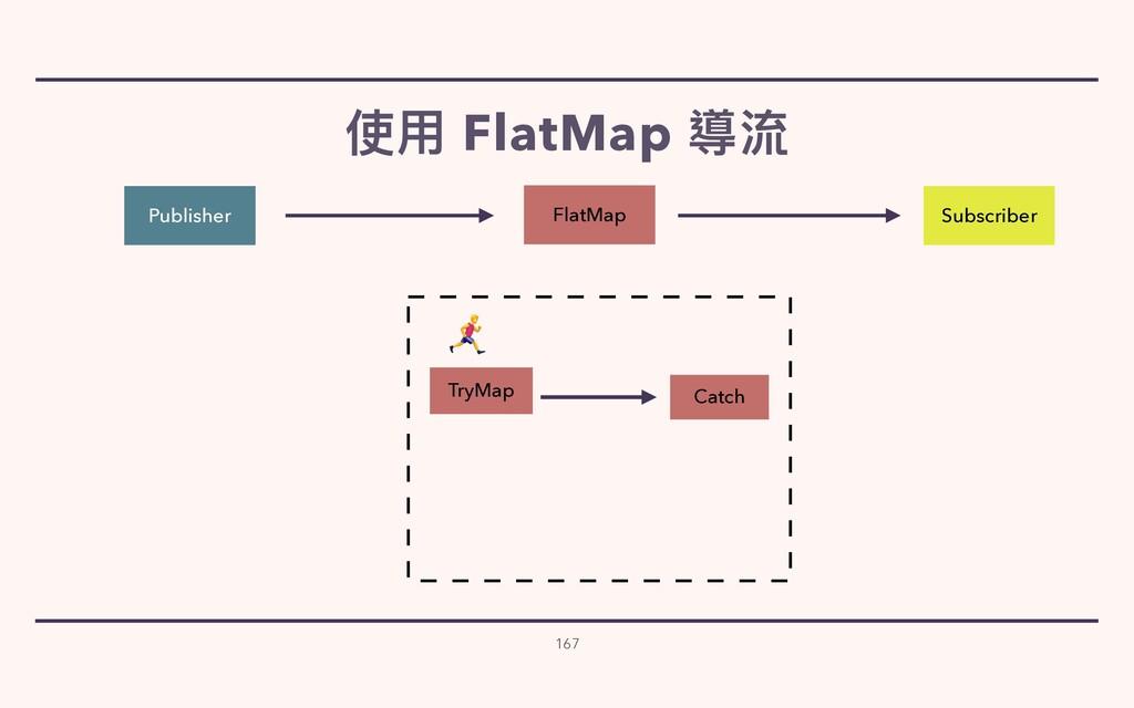 使⽤ FlatMap 導流 167 Publisher Subscriber Catch Tr...