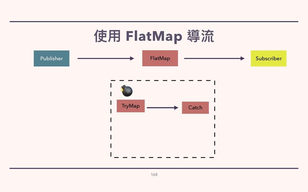 使⽤ FlatMap 導流 168 Publisher Subscriber Catch Tr...