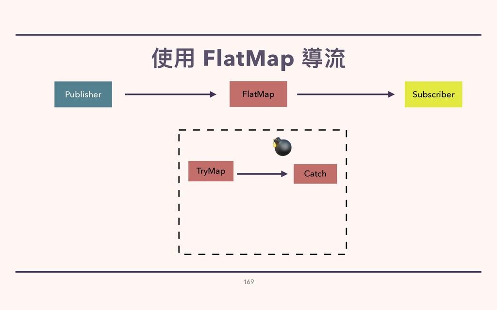 使⽤ FlatMap 導流 169 Publisher Subscriber Catch Tr...