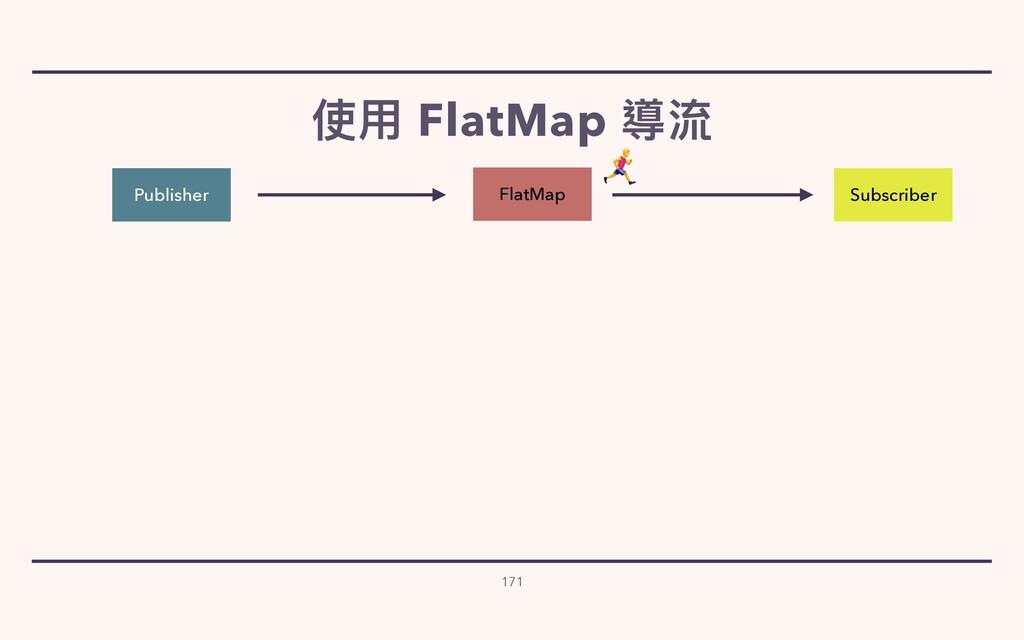 使⽤ FlatMap 導流 171 Publisher Subscriber FlatMap